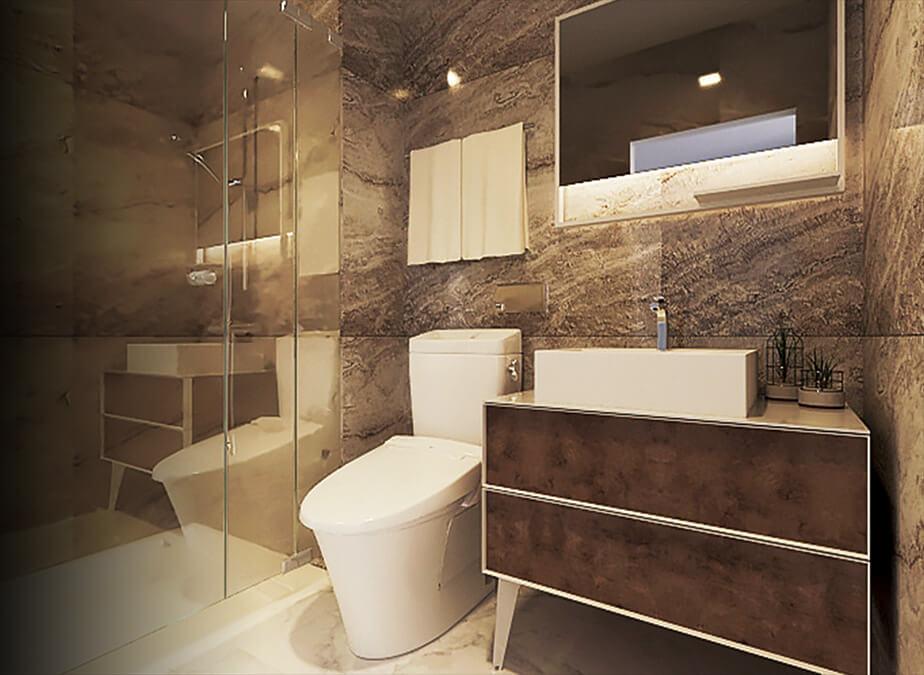 1BRwDen&Balcony- Bathroom