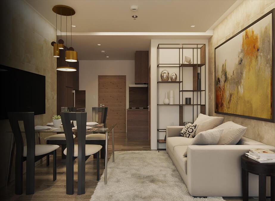 1BRwDen&Balcony- Living Area