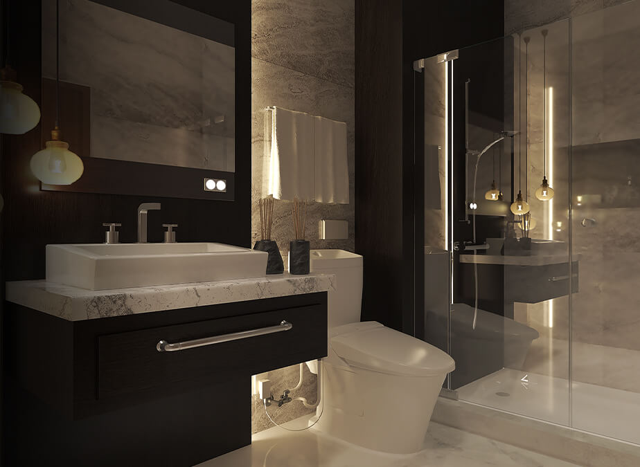 1BRwBalcony- Bathroom