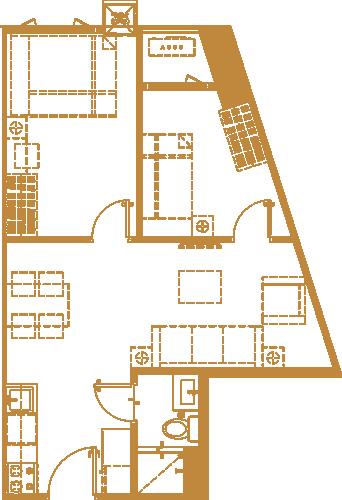 2BR Floor plan - Gold Residences