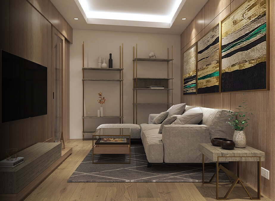 2BR - Living Area - Gold Residences